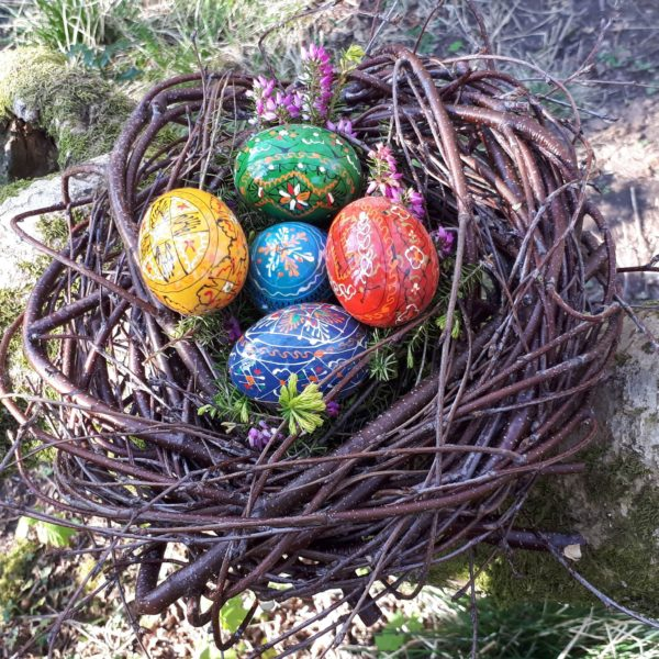 "Birch twig nest - random weave (minus the Romanian eggs) 11"" diameter"