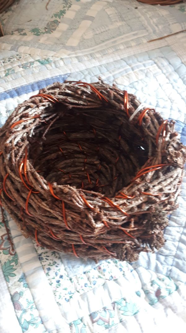Spruce and copper wire coiled baskets