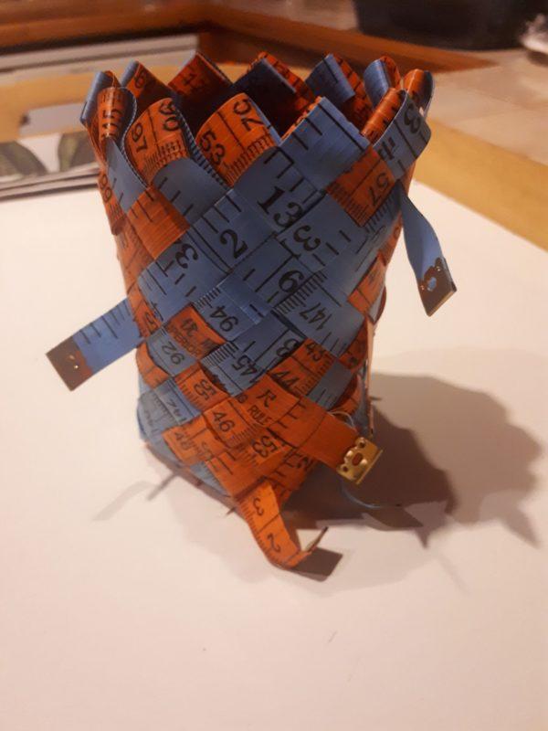 Tape measure plaited basket