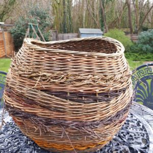 Crazy basket with fresh and contorted willow panels