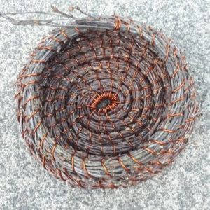 copper wire and birch coil basket